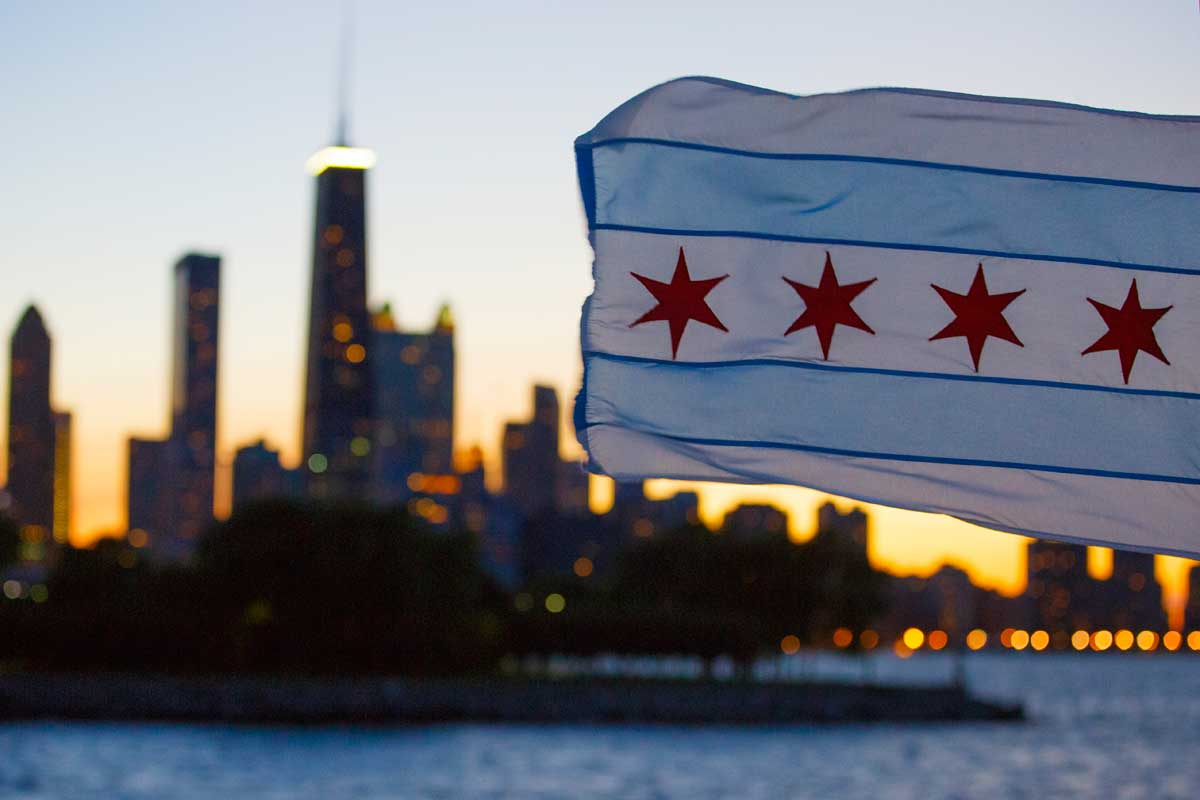 Chicago flag on a boat in Lake Michigan